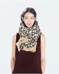 Zara Two Tone Jacquard Blotch Scarf - Lyst