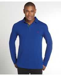 Burberry Brit Blue Cotton Logo Imprinted Long Sleeve Polo Shirt - Lyst