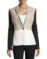 Halston Heritage Linen-blendfaux-leather Colorblock Jacket - Lyst