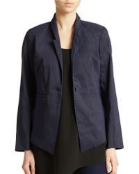 Eileen Fisher Ramie High Back Jacket - Lyst