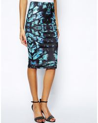Lipsy Midi Skirt in Feather Print - Lyst