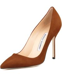 Manolo Blahnik Bb Suede 105mm Pump Cognac Made To Order - Lyst