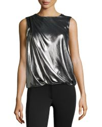 Rachel Zoe Metallic Zip-Detail Sleeveless Top - Lyst