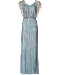 Jenny Packham Blue Beaded Gown - Lyst