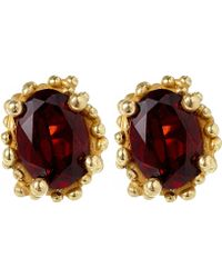 Ruth Tomlinson - Gold Beaded Garnet Stud Earrings - Lyst