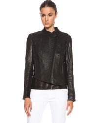Helmut Lang Asymmetric Blistered Leather Jacket - Lyst