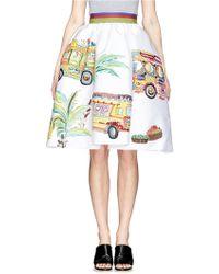Stella Jean 'Cardellino' Caravan Print Pouf Skirt - Lyst
