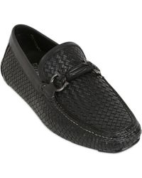Ferragamo Round Woven Leather Driving Loafers - Lyst