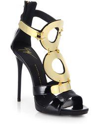 Giuseppe Zanotti Patent Leather Goldtone Ring Sandals - Lyst
