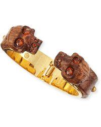 Alexander McQueen Wooden Skull Bracelet - Lyst