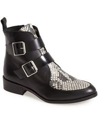 Topshop 'Air' Snake Embossed Inset Leather Bootie - Lyst