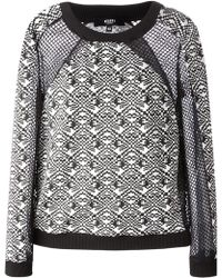 Versus  Mesh Panel Graphic Intarsia Sweater - Lyst