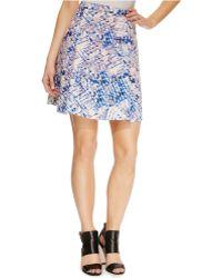 DKNY Printed Pleated Scuba Flare Skirt multicolor - Lyst