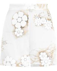 Honor Floral-Print Silk-Organza Shorts white - Lyst