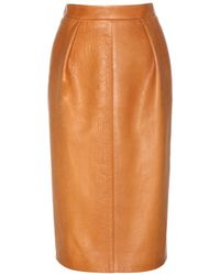 Miu Miu Leather Pencil Skirt - Lyst
