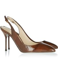 Sergio Rossi Chichi Lizard-effect Patent-leather Slingback Pumps - Lyst