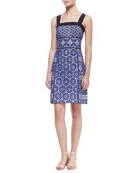 Tory Burch Margaux Lace Overlay Sleeveless Dress - Lyst