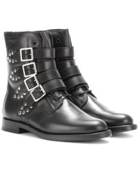 Saint Laurent Rangers Studded Leather Ankle Boots - Lyst