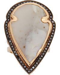 Pamela Love White Jasper Black Diamond Rose Gold Arrowhead Ring - Lyst