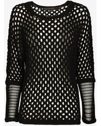 Yigal Azrouel Mesh Sleeve Pointelle Knit - Lyst