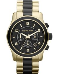 Michael Kors Black and Golden Stainless Steel Runway Chronograph Watch - Lyst