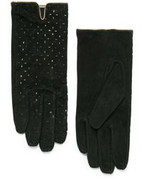 Mango Laser-cut Suede Gloves - Lyst