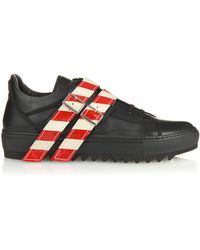 Raf Simons | Black Strap Detail Leather Sneakers | Lyst
