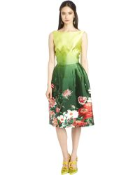 Oscar de la Renta Landscape Print Mikado Dress - Lyst