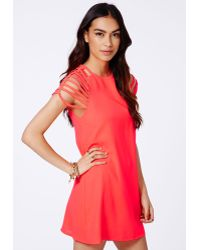 Missguided Berangaria Neon Coral Caged Sleeves Swing Dress - Lyst
