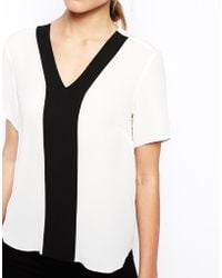 Asos V Neck Colour Block Insert Top - Lyst