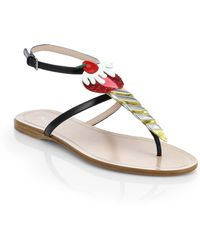 Miu Miu Cherry Leather Thong Sandals - Lyst