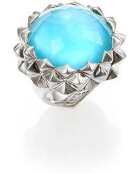 Stephen Webster Blue Cat'S Eye, Mother-Of-Pearl, Clear Quartz & Sterling Silver Haze Large Dome Ring - Lyst
