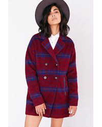 Numph - Brushed Plaid Lucy Coat - Lyst