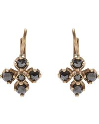 Anaconda - Black Diamond & White Gold quadrifoglio Drop Earrings - Lyst