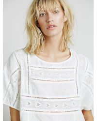 Free People Womens Short Sleeve Cutwork Structured Tee - Lyst