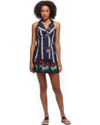 Suno Lapel Halter Mini Dress - Lyst