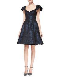 Zac Posen Cap Sleeve Jacquard Party Dress - Lyst