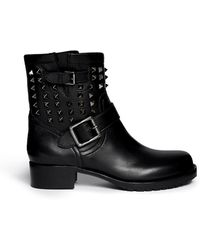 Valentino 'Rockstud Noir' Leather Biker Ankle Boots - Lyst