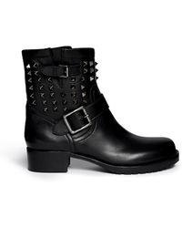 Valentino 'Rockstud Noir' Leather Biker Ankle Boots - Lyst