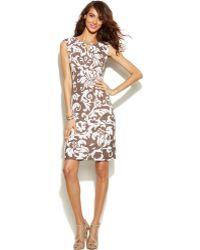 Inc International Concepts Cap-Sleeve Printed Keyhole Dress - Lyst
