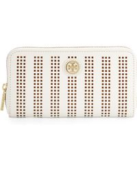 Tory Burch Robinson Perforated Continental Wallet - Lyst