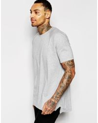 ASOS | Longline T-shirt With Cut And Sew Seaming And Angled Hem | Lyst