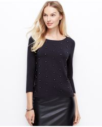 Ann Taylor Beaded Crepe Top - Lyst