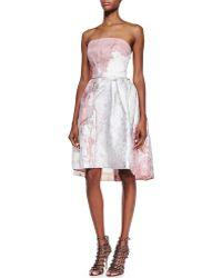 Monique Lhuillier Strapless Floral Cocktail Dress - Lyst