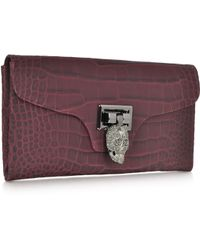 Philipp Plein Bordeaux Embossed Leather Skull Clutch - Lyst
