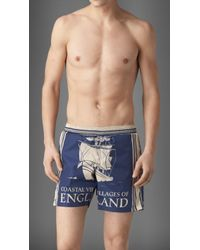 Burberry Book Cover Print Swim Shorts - Lyst
