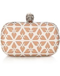 Alexander McQueen Laser-Cut Leather Box Clutch - Lyst