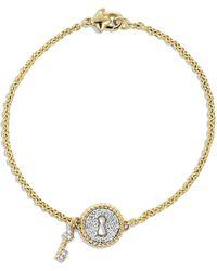 David Yurman Cable Pave Lock  Key Charm Bracelet with Diamonds in Gold - Lyst