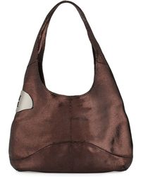 Halston Heritage Open-Top Leather Hobo brown - Lyst