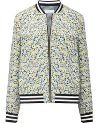 Equipment Multi Silk Floral Abbot Bomber - Lyst
